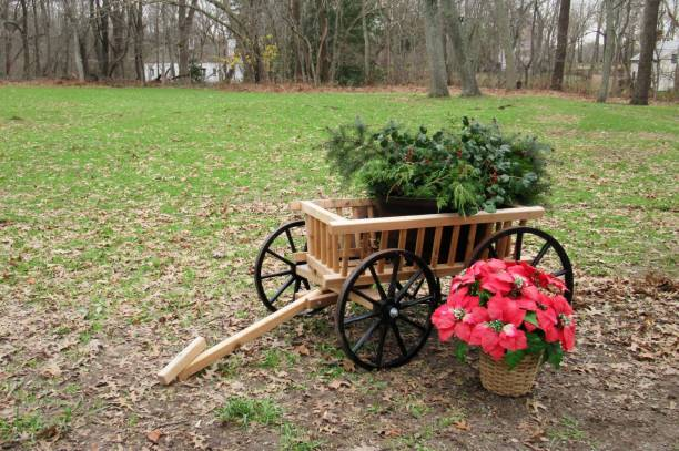 Wooden Christmas Cart stock photo