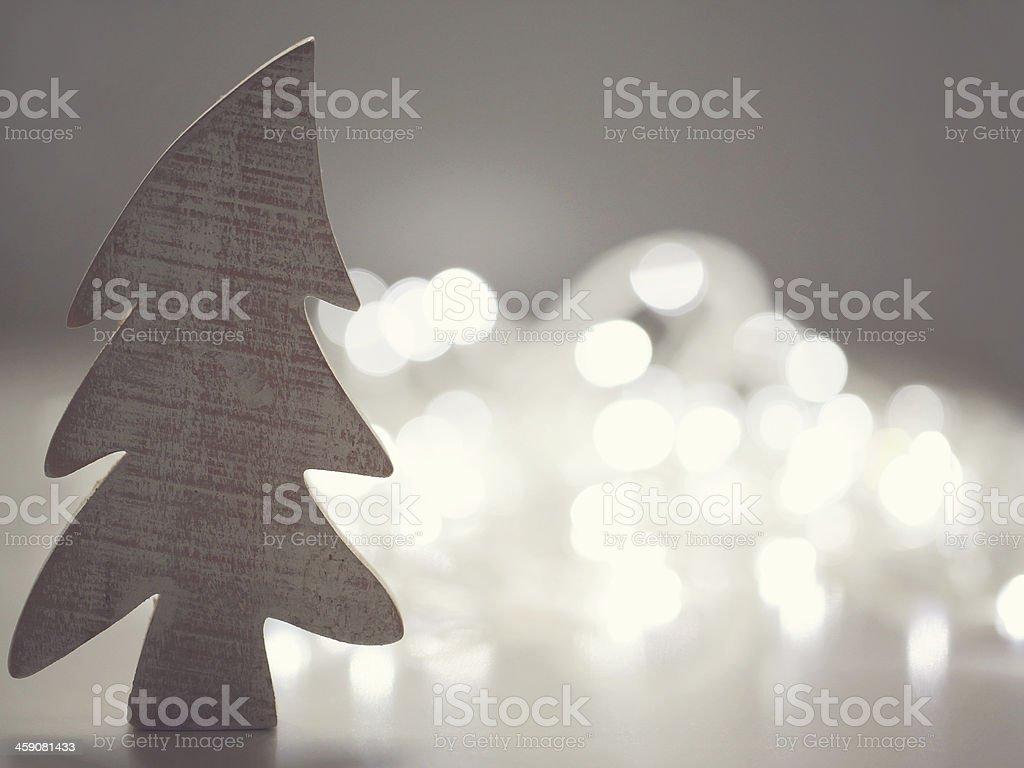 Wooden christmas fir tree stock photo