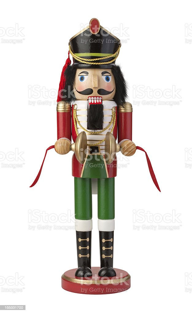 Wooden Christmas Nutcracker isolated royalty-free stock photo