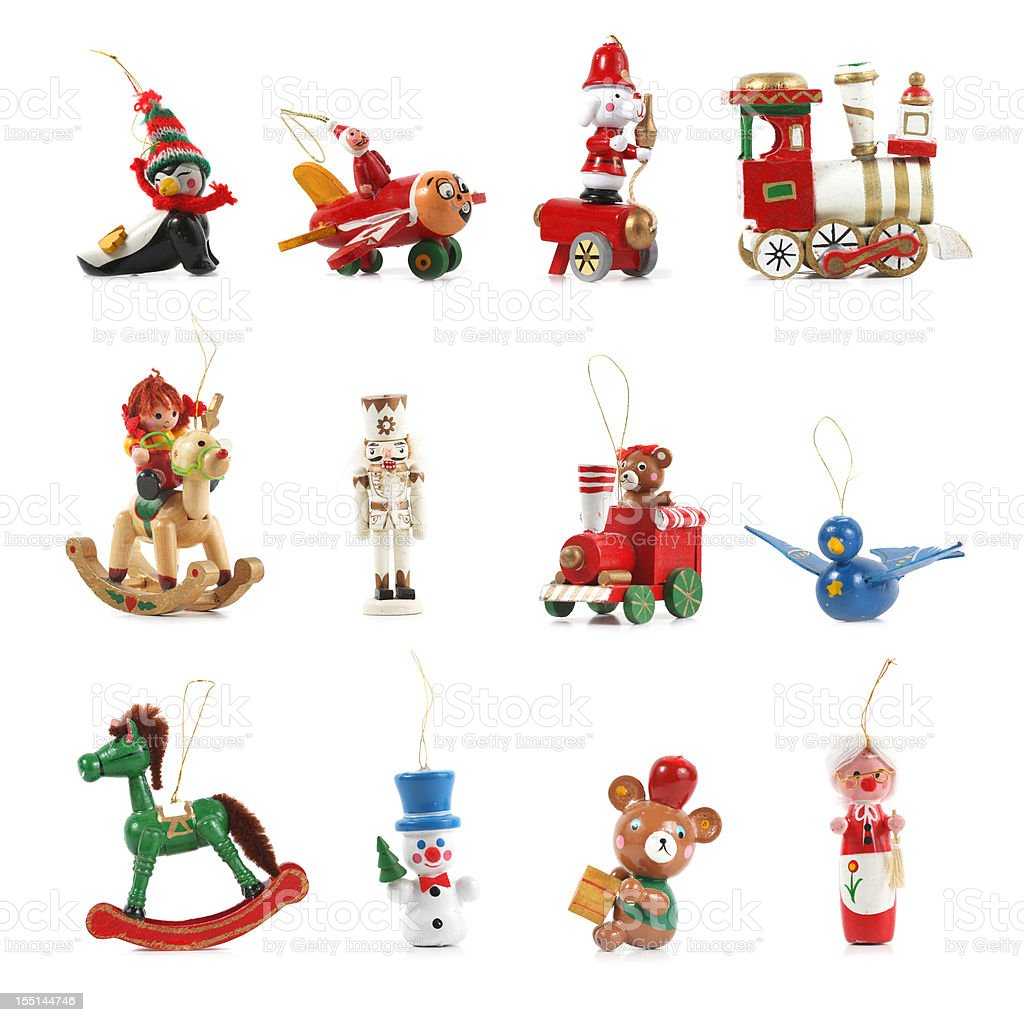 Wooden Christmas Ornaments on white. royalty-free stock photo