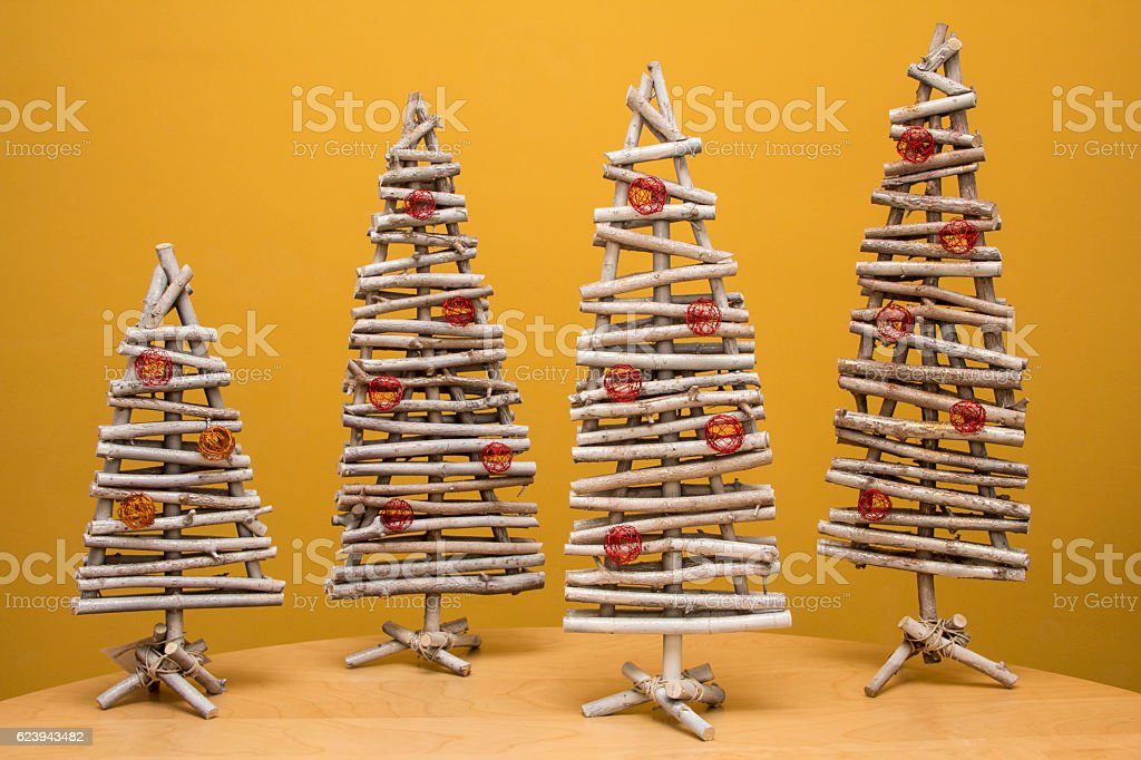 Wooden Christmas Tree Decoration   Ideas For Home Made Present Royalty Free  Stock Photo