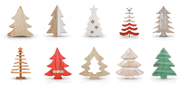 Christmas Trees Decoration Isolated on a White Background with Soft Shadow and Reflection
