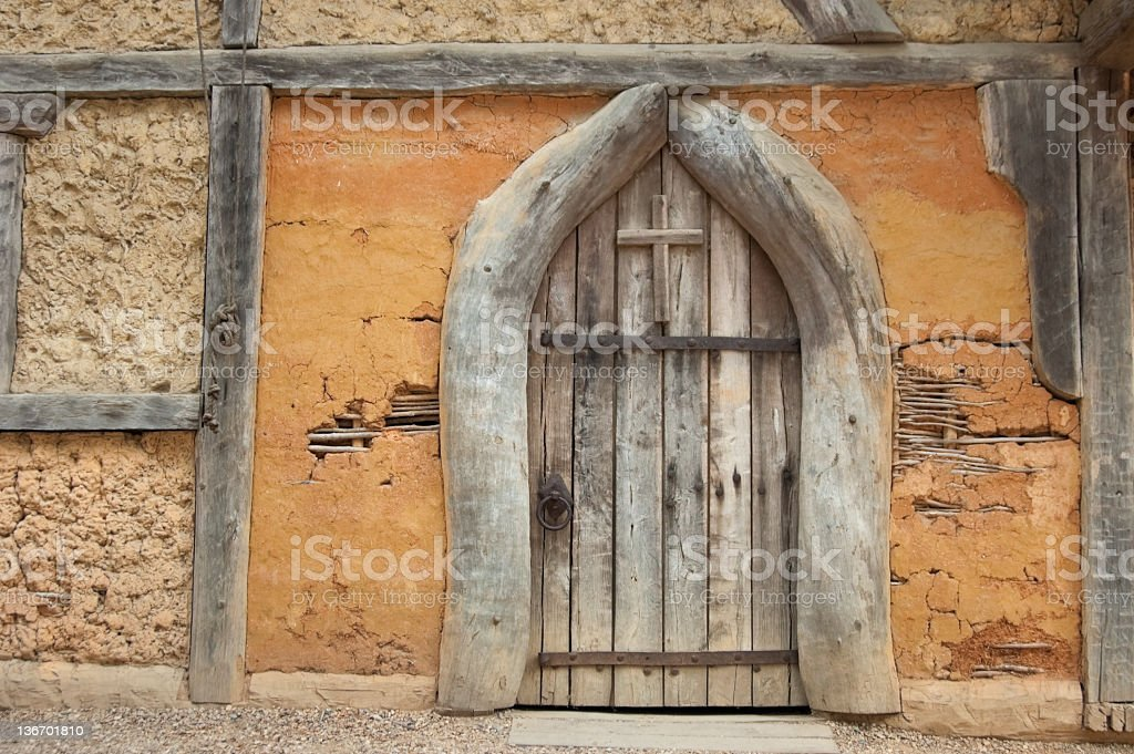Wooden Church Door, Rustic and Weathered stock photo