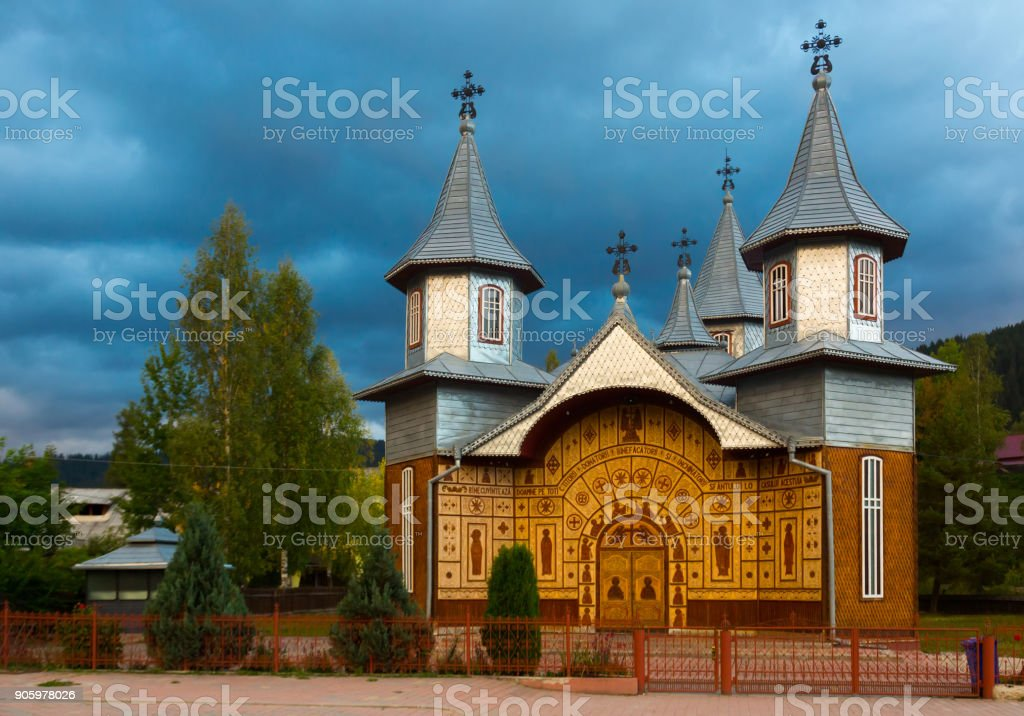 Wooden church in Carlibaba, Romania stock photo