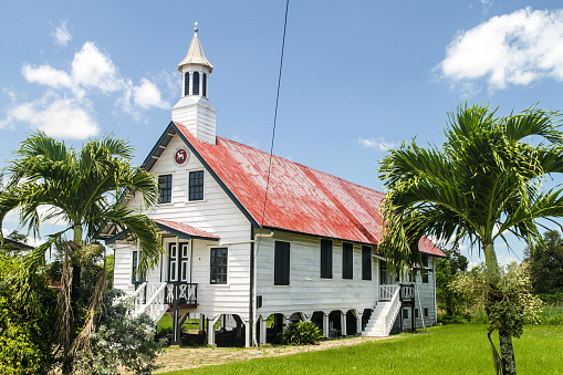 Wooden church in Nieuw Amsterdam village in Suriname