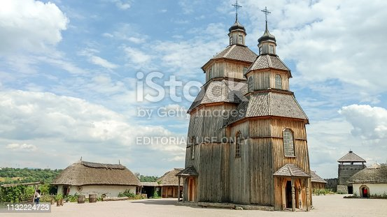 Zaporizhia, Ukraine - June 14, 2017: Wooden church in the Zaporozhian Sich on the island of Khortytsia