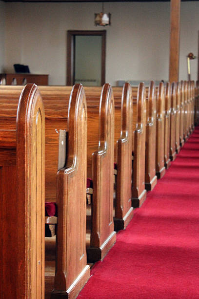 wooden church pews - pam schodt stock photos and pictures