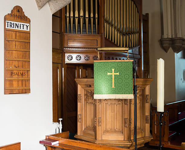 Wooden Church Pulpit and Hymn Board stock photo