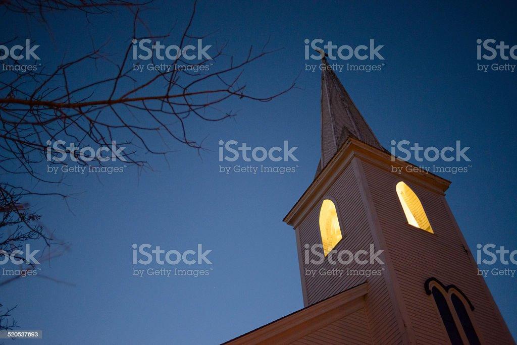 Wooden Church Spire at Dusk, Canada stock photo