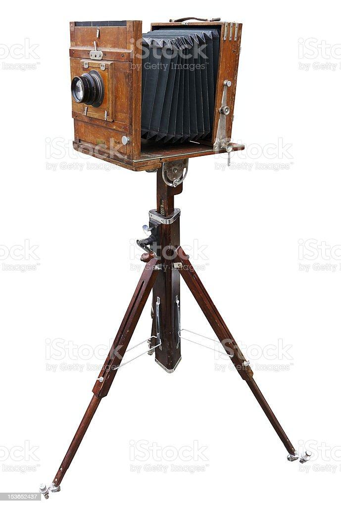 Wooden classic photo camera stock photo
