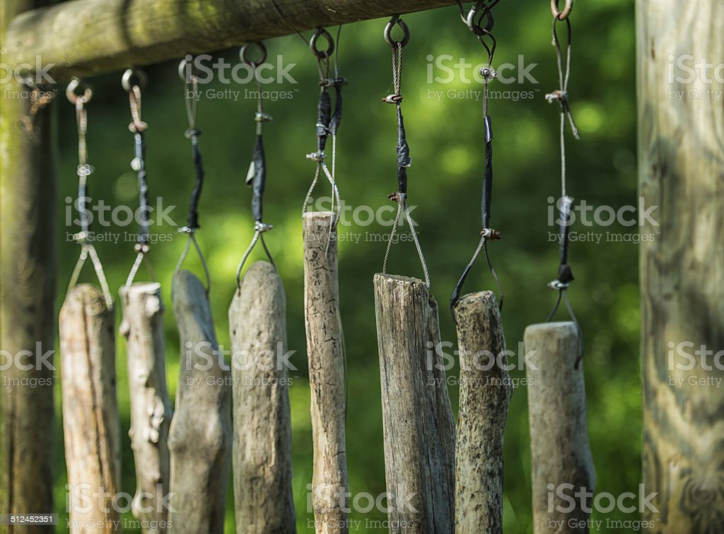 wooden claves in nature stock photo