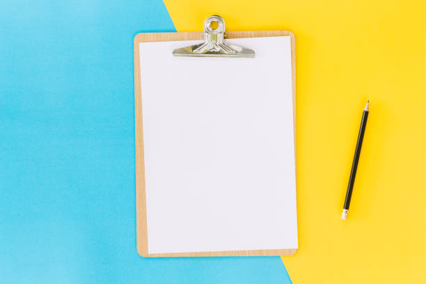 wooden clipboard on table - checklist stock photos and pictures
