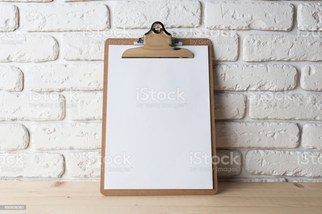 Wooden clipboard stock photo
