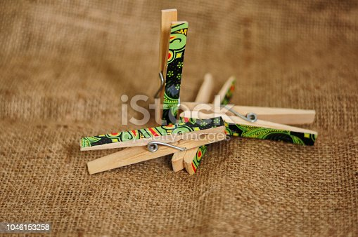 istock Wooden Clips for pinning photos and more 1046153258