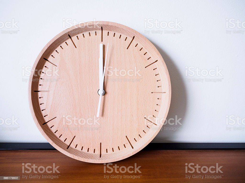 Wooden Clock Display On White Wall Background Stock Photo More