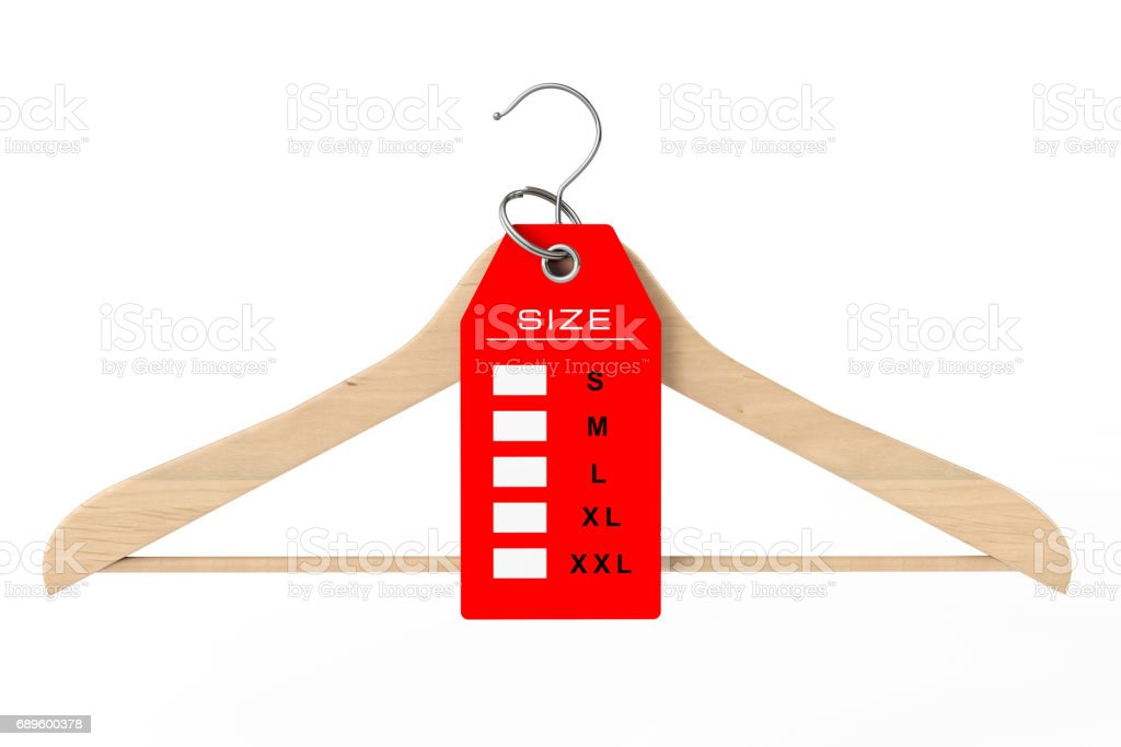 Wooden Clothes Hanger and Dress Tag with Size Sign. 3d Rendering stock photo