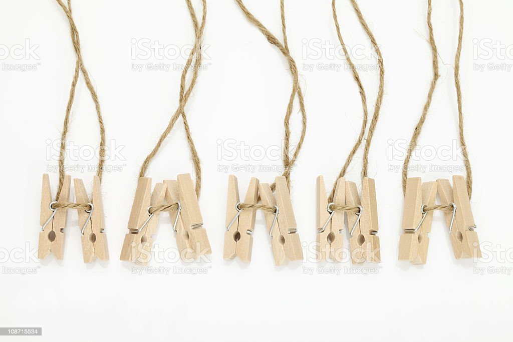 Wooden clothespins royalty-free stock photo