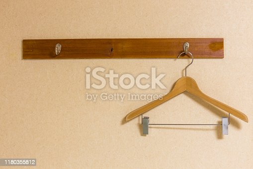Wooden coat hanger On a wooden wall hanging in a Japanese house