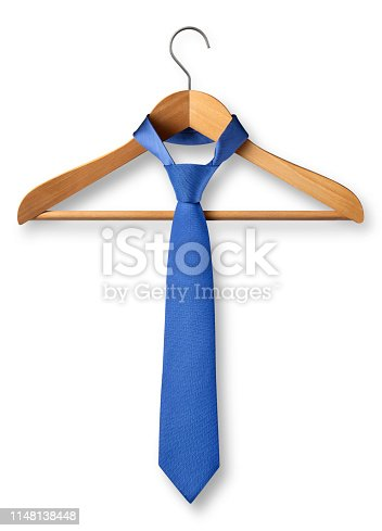 Wooden coat hanger with tie on white background.