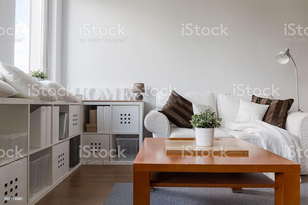 Wooden coffee table stock photo