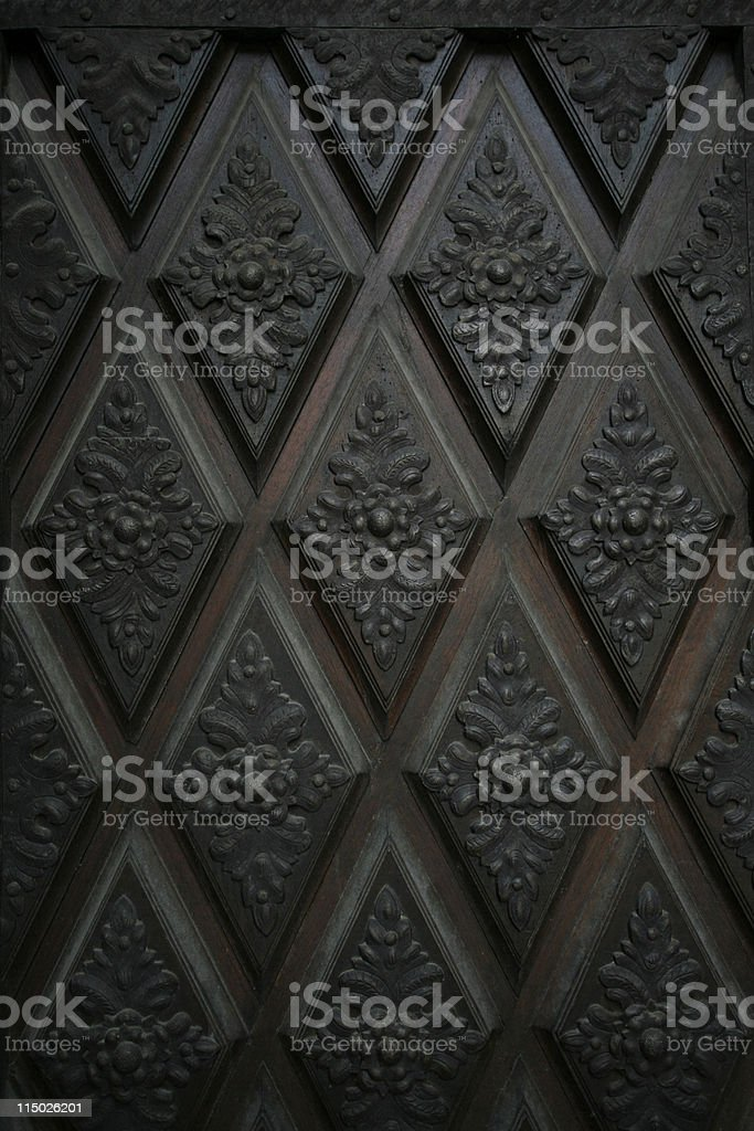Wooden coffered ceiling stock photo