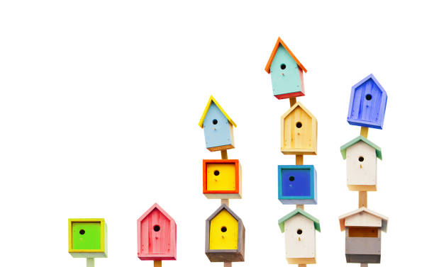 Wooden colorful birdhouses isolated on a white background . stock photo
