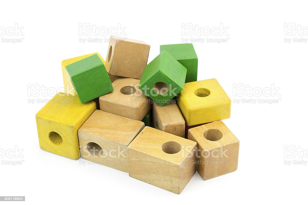 Wooden colorful bricks isolated on white background royalty-free stock photo