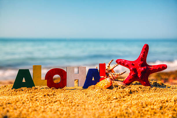 Wooden colorful word 'Aloha' on the sand stock photo