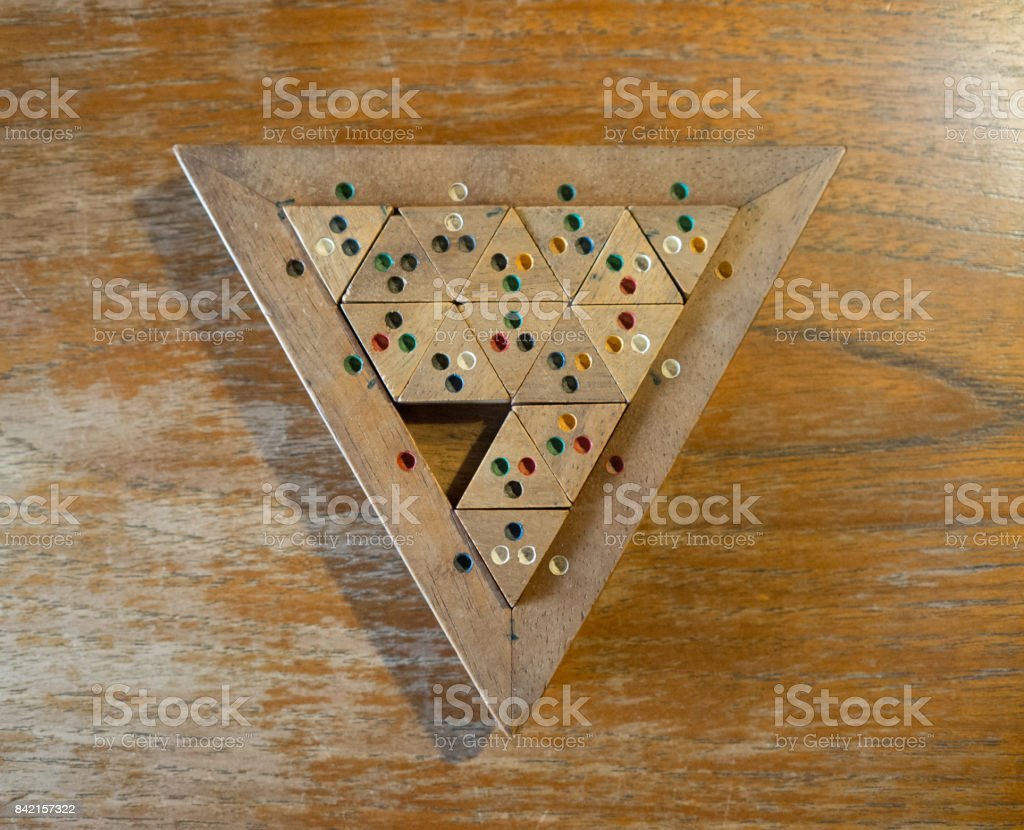 Wooden Colour Match Triangle stock photo
