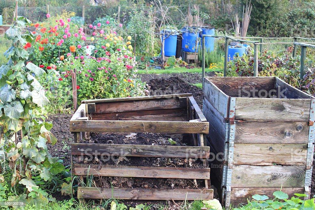 dirt formal garden front or back yard garbage plant wooden compost heaps compost bin
