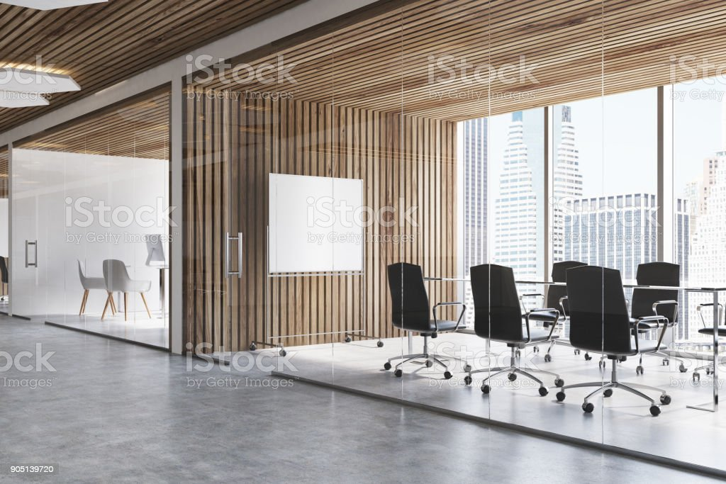 Wooden conference room, poster stock photo