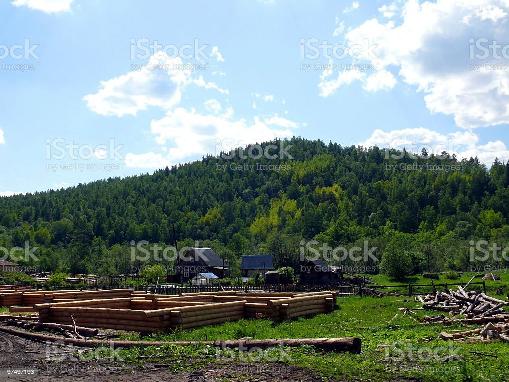 Wooden construction in the alope a mountain royalty-free stock photo