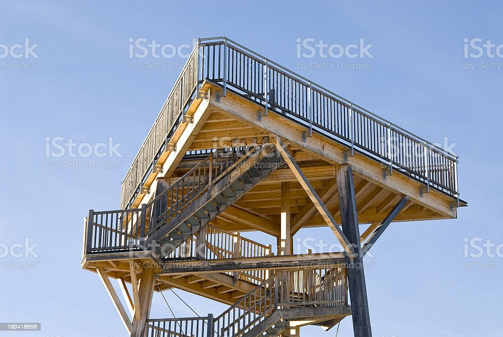 Wooden construction in the sky stock photo