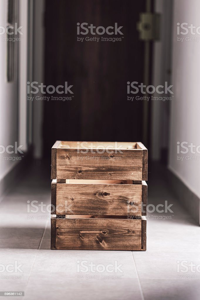 Wooden container box on a dark corridor royalty-free stock photo