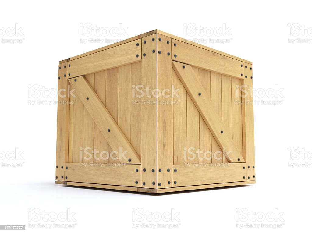 Wooden container nailed shut against white background royalty-free stock photo