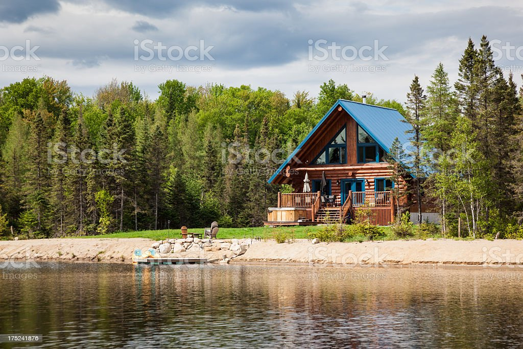 Wooden Cottage, Log Home, Log Cabin stock photo