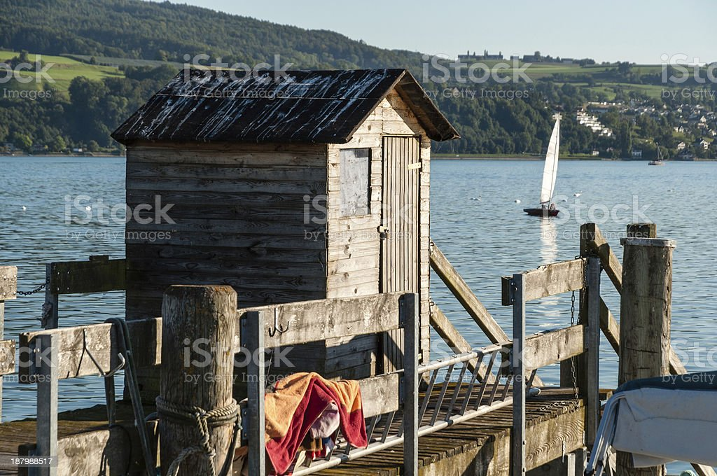 Wooden cottage, port of Horn, Lake Constance, Southern Germany royalty-free stock photo