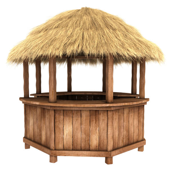 Wooden counter kiosk with thatched roof stock photo