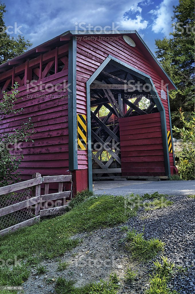 Wooden covered bridge - HDR royalty-free stock photo