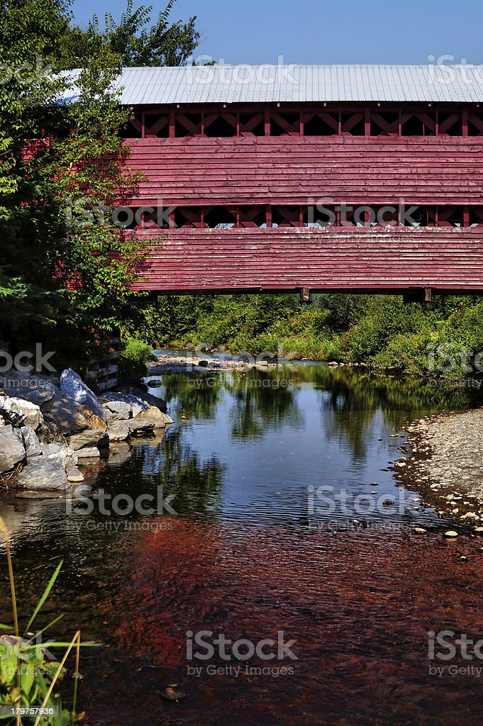 Wooden covered bridge royalty-free stock photo