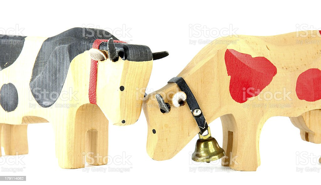 wooden cows toy royalty-free stock photo