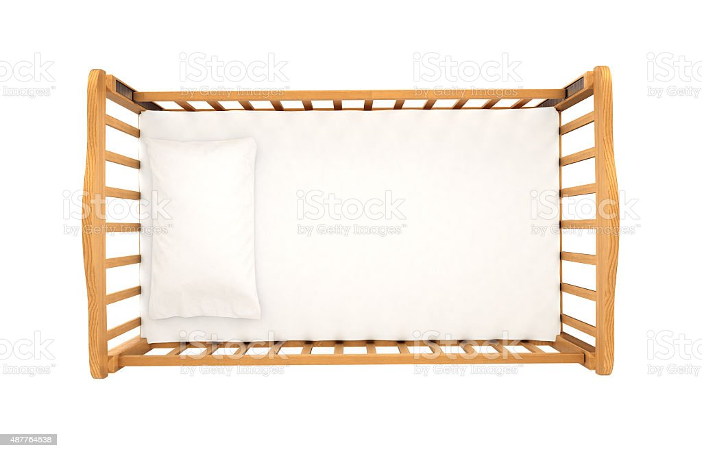 wooden cradle for baby stock photo