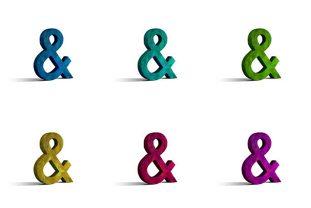 wooden crafted and sign, isolated on white - ampersand stock pictures, royalty-free photos & images