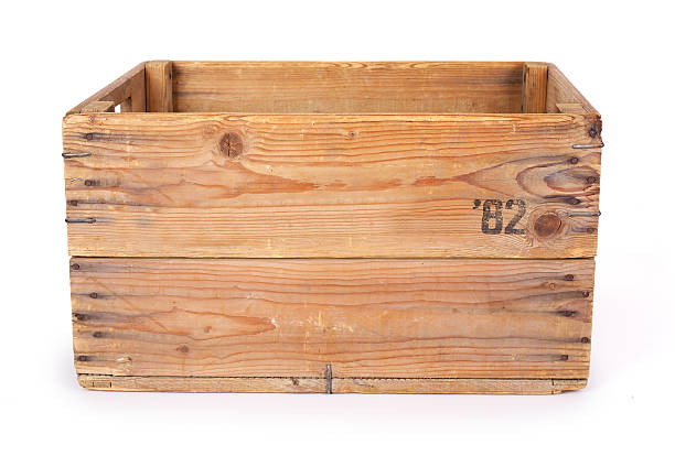 Wooden crate. Contains clipping path. stock photo