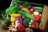 木製かケージに新鮮なオーガニックの野菜