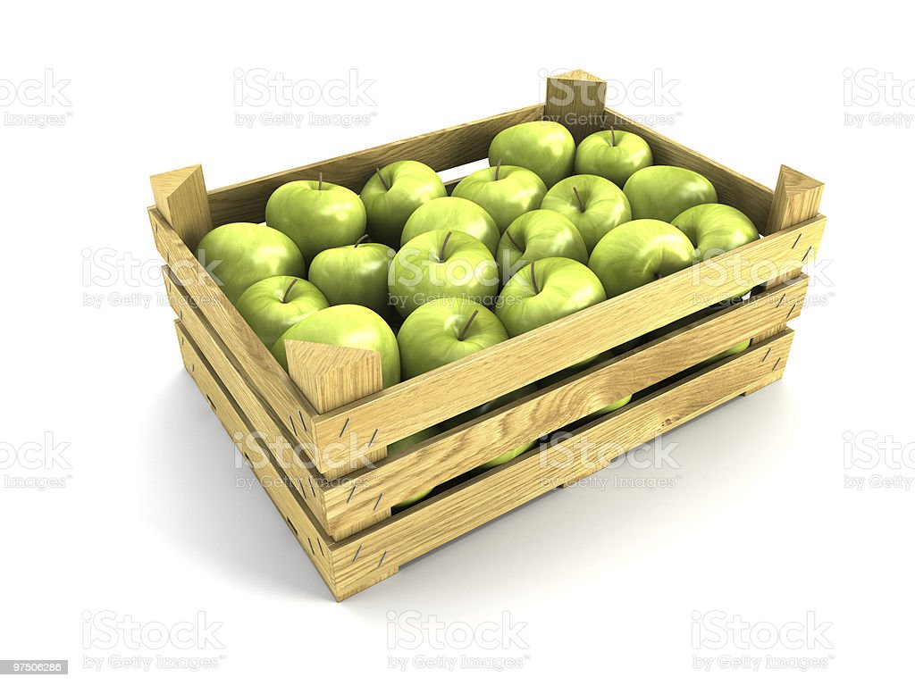 wooden crate full of apples royalty-free stock photo