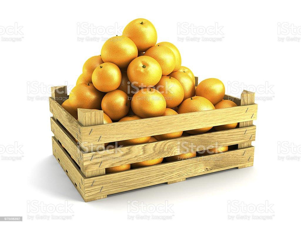 Boîte en bois des oranges photo libre de droits