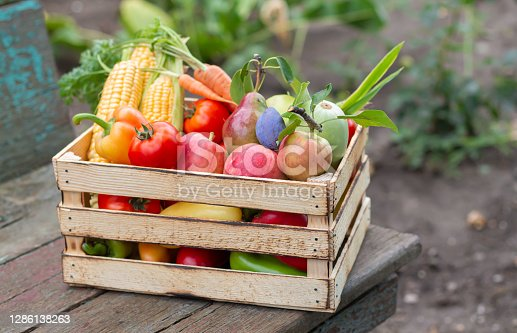 Wooden crate of organic farm vegetables and fruit on rustic table outdoor. Eco food concept