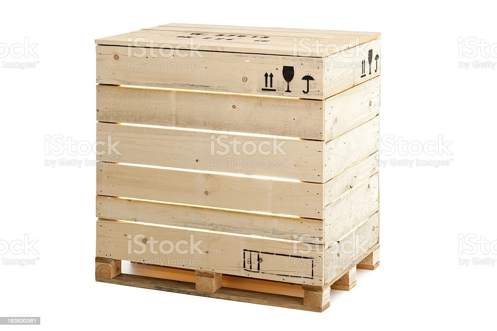 wooden crate on white stock photo