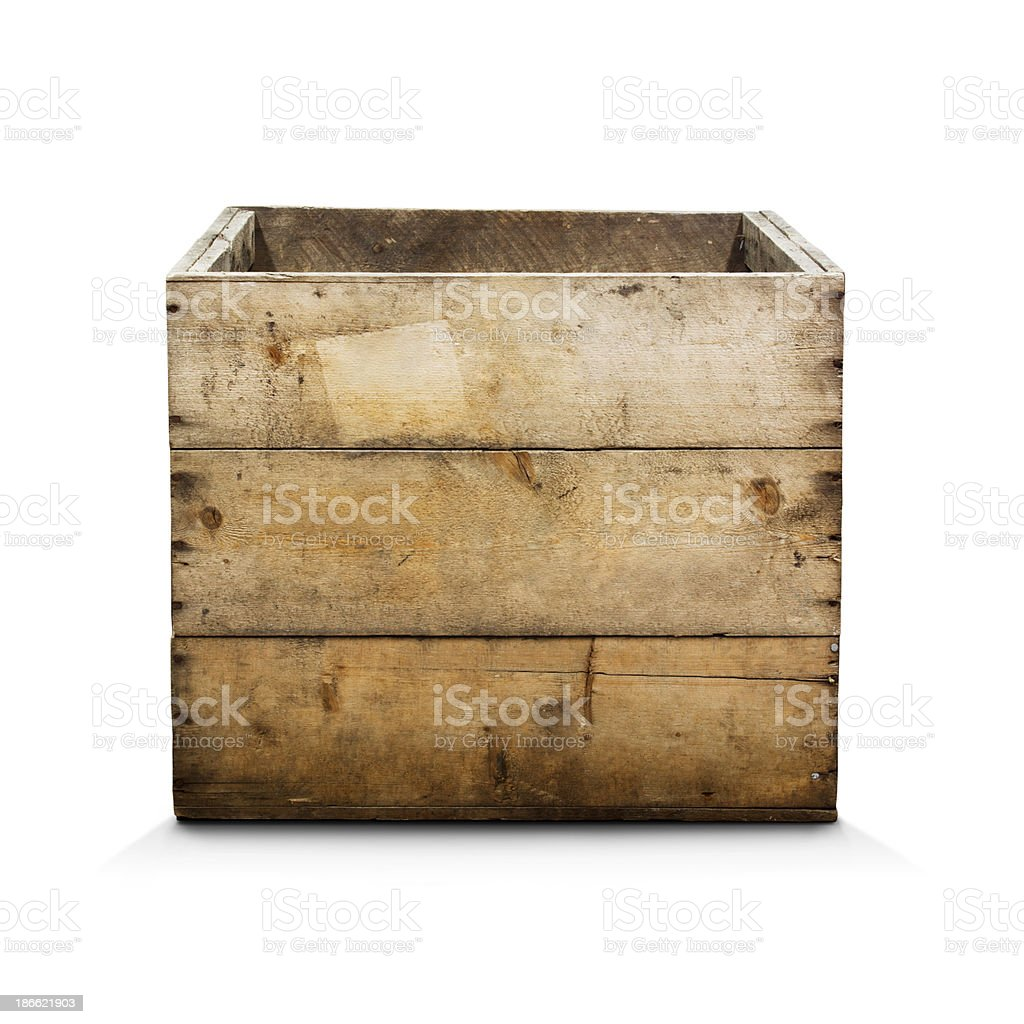 Wooden Crate with Clipping Path stock photo